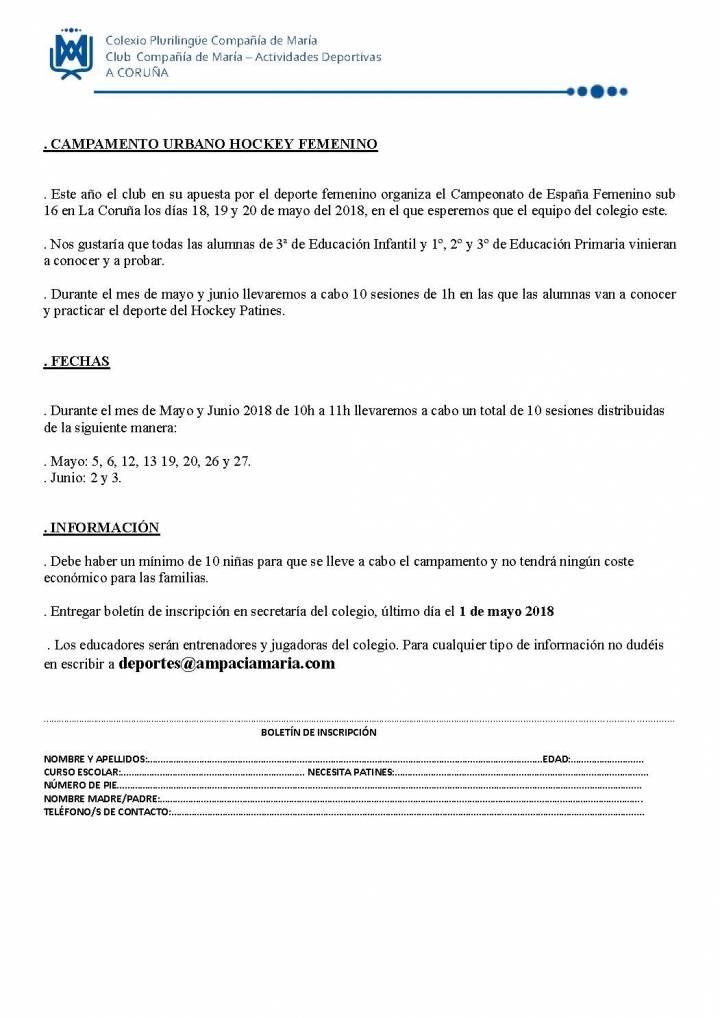 CURSO DE INICIACIÓN AL HOCKEY FEMENINO