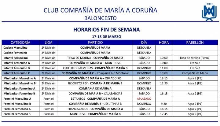 PARTIDOS FIN DE SEMANA 17-18 DE MARZO