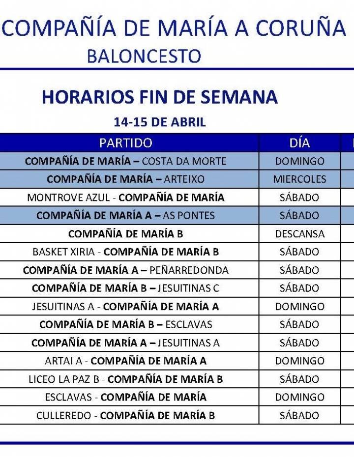 PARTIDOS FIN DE SEMANA 14-15 DE ABRIL