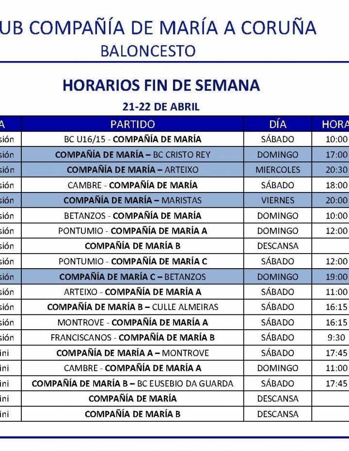 PARTIDOS FIN DE SEMANA 21-22 DE ABRIL