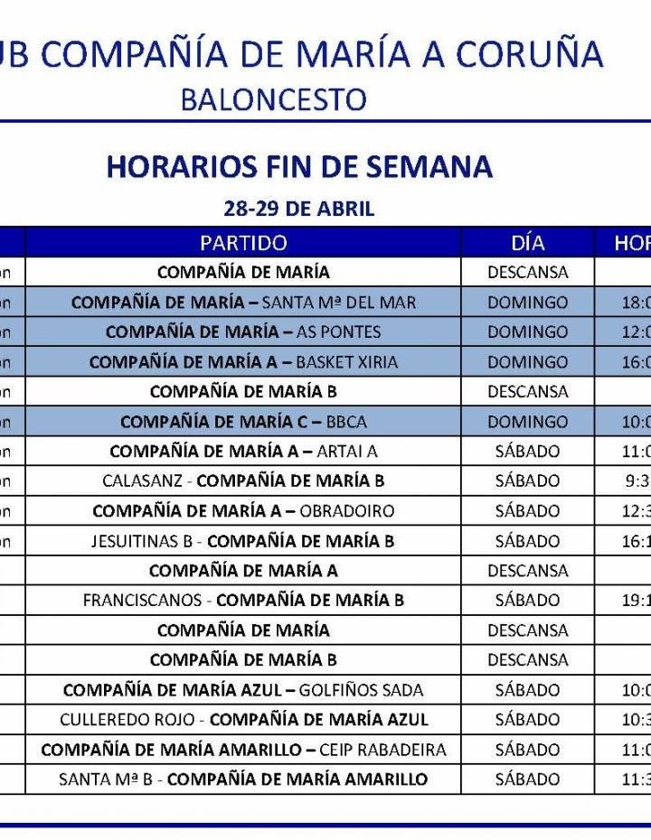 PARTIDOS FIN DE SEMANA 28-29 DE ABRIL