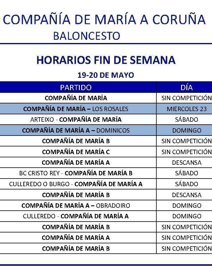 PARTIDOS FIN DE SEMANA 19-20 DE MAYO