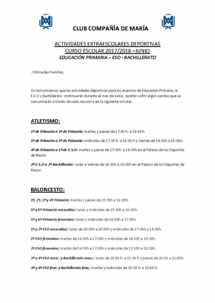 HORARIOS DE LAS ACTIVIDADES DEPORTIVAS EN PRIMARIA, ESO Y BACHILLERATO PARA JUNIO