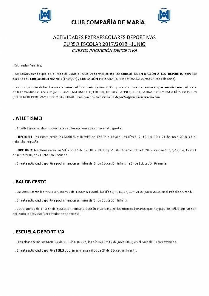 HORARIOS CURSOS DE INICIACIÓN A LOS DEPORTES EN JUNIO