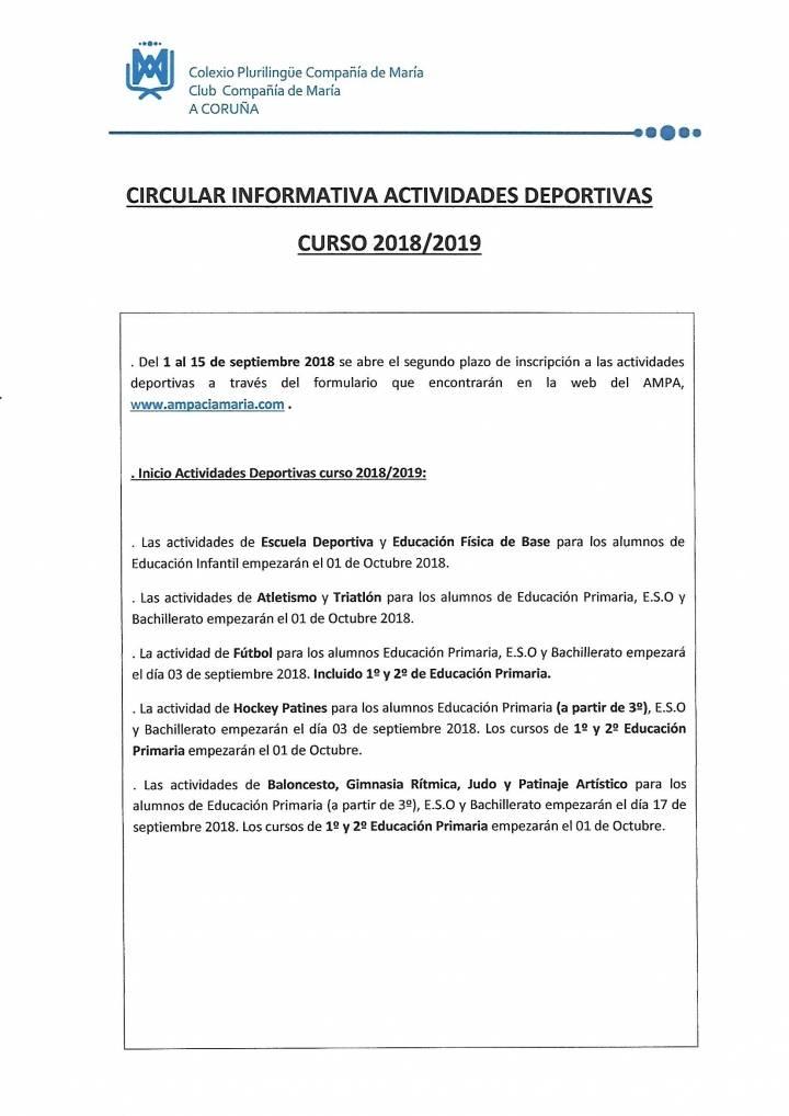 INICIO DE LAS ACTIVIDADES DEPORTIVAS CURSO 2018 2019