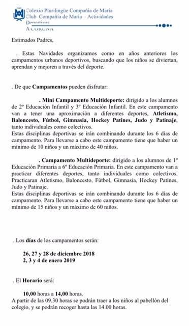 CAMPAMENTO MULTIDEPORTE EN NAVIDADES