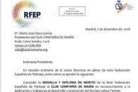 MEDALLA Y DIPLOMA DE MERITO DE LA REAL FEDERACIÓN ESPAÑOLA DE PATINAJE AL CLUB COMPAÑÍA DE MARIA