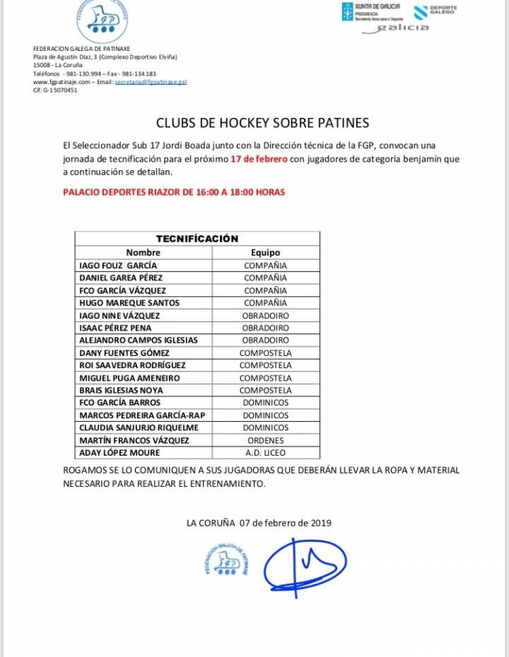 ENTRENAMIENTO DE TECNIFICACIÓN BENJAMIN CON EL SELECCIONADOR ESPAÑOL SUB17 EN LA CORUÑA