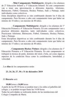 CAMPAMENTOS DEPORTIVOS DE NAVIDAD 2019