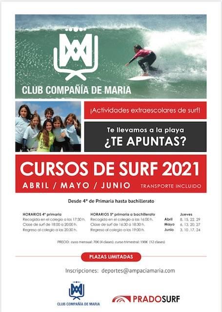 NUEVOS HORARIOS PARA LA ACTIVIDAD DE SURF EN EL MES DE ABRIL