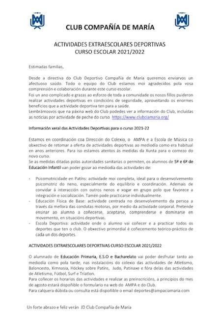 CIRCULAR INFORMATIVA ACTIVIDADES DEPORTIVAS CURSO 2021/2022